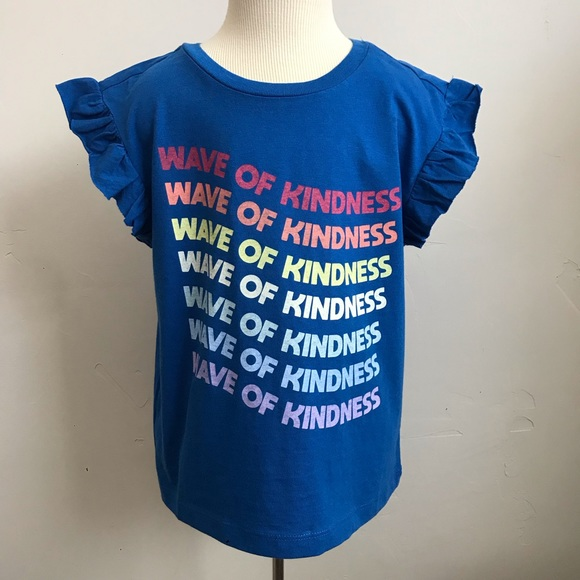 Gymboree Girls Clothes Size 7-8 10-12 Wave of Kindness Blue Kids Tee T-Shirt